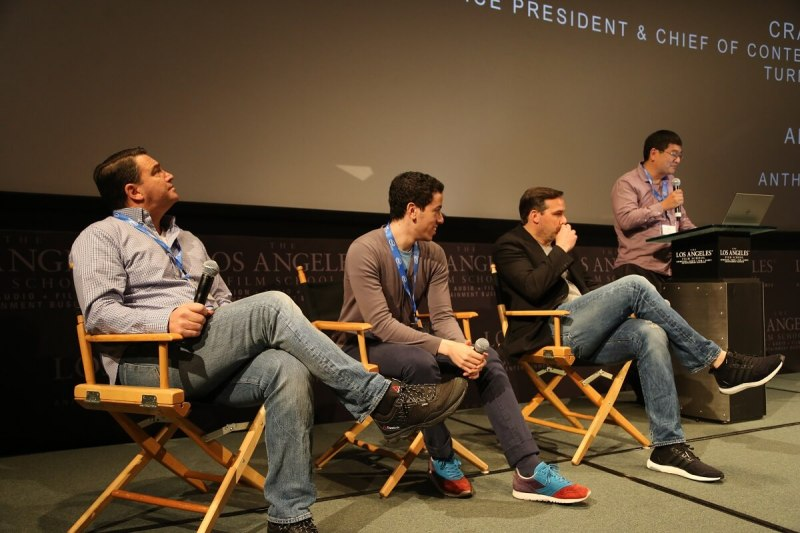 Dean Takahashi of GamesBeat (far right) moderates esports panel with (right to left)