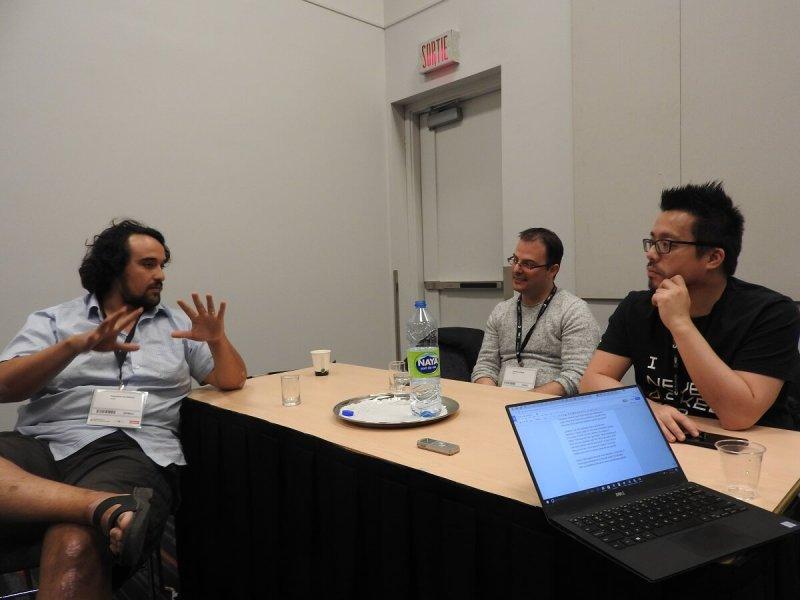 Sebastian Alvarado of Thwacke (left) talks about how sci-fi inspires science and vice versa.