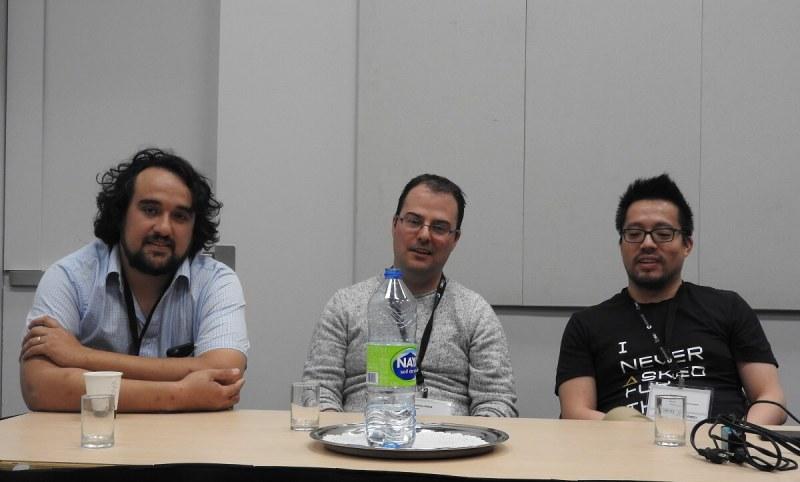 MIGS 2016 panelists: Sebastian Alvarado (left) of Thwacke, Jonathan Morin of Ubisoft Montreal, and Andre Vu of Eidos Montreal.