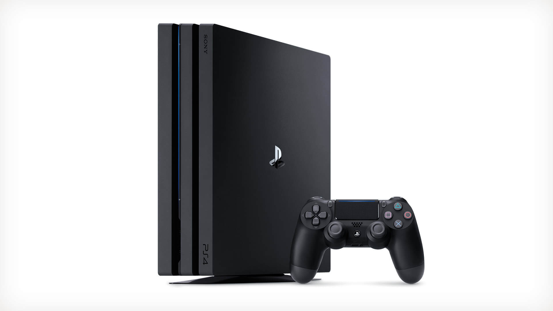 The PlayStation 4 Pro in its vertical stance.