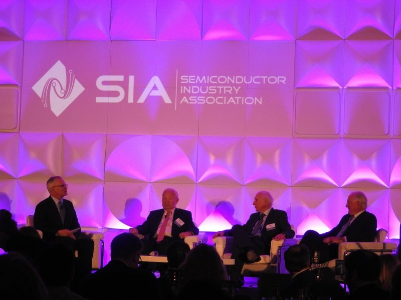 Chip industry leaders: (left) John Neuffler, Morris Chang, Ray Stata, and Craig Barrett.