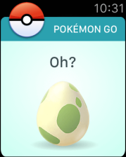 An egg hatching in Pokémon Go for Apple Watch.