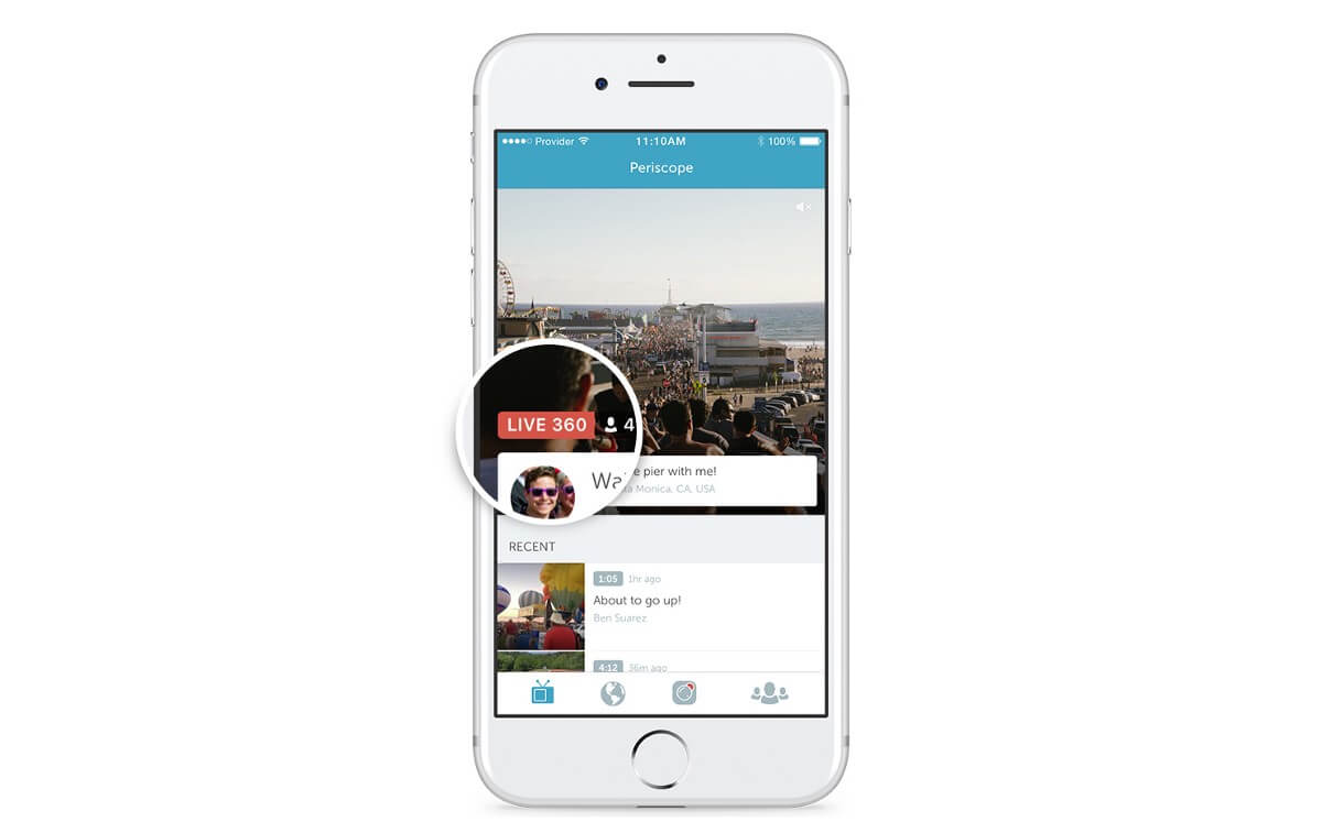 A badge now appears on Periscope denoting which broadcasts support 360-degree viewing.