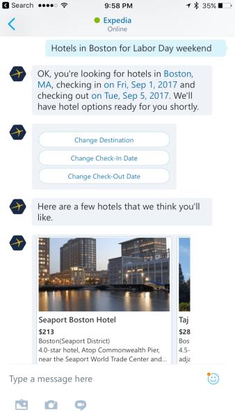 Expedia bot on Skype iOS app