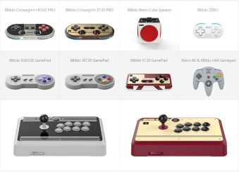 8Bitdo's lineup of controllers.