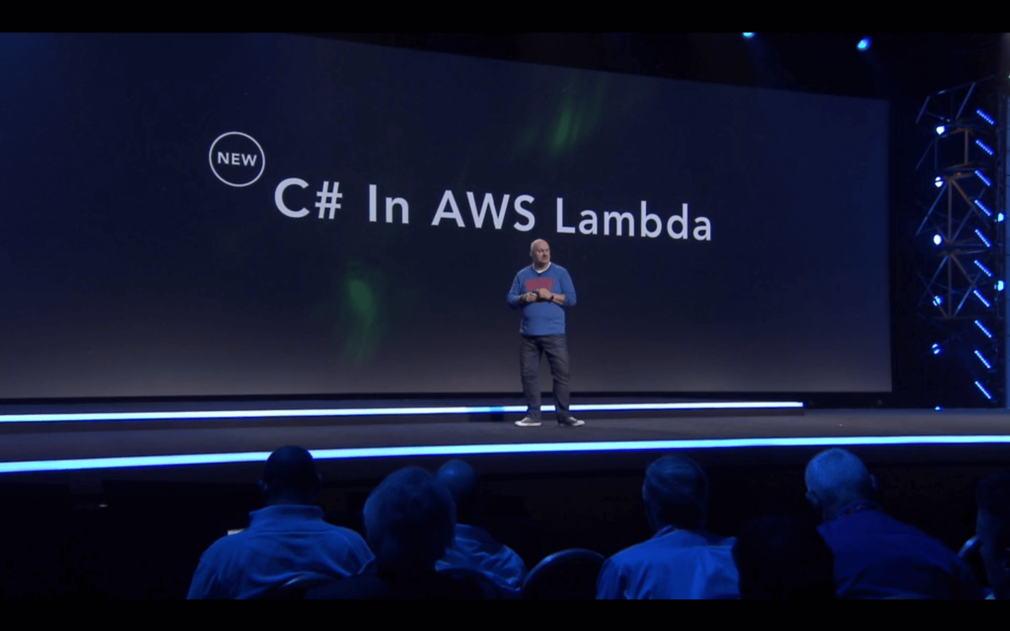Amazon vice president and chief technology officer Werner Vogels talks about C# support in the AWS Lambda service at the AWS re:Invent conference in Las Vegas on December 1, 2016.