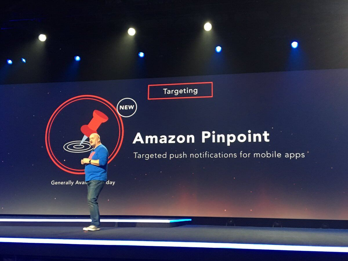 Amazon vice president and chief technology officer Werner Vogels introduces the Amazon Pinpoint service at the AWS re:Invent conference in Las Vegas on December 1, 2016.