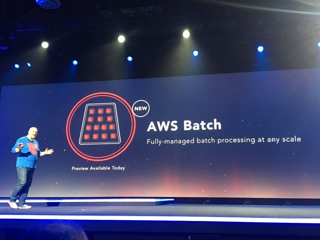 Amazon vice president and chief technology officer Werner Vogels introduces the AWS Glue service at the AWS re:Invent conference in Las Vegas on December 1, 2016.