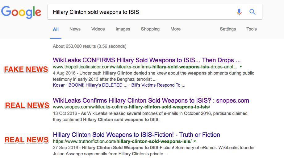 clinton fake news google
