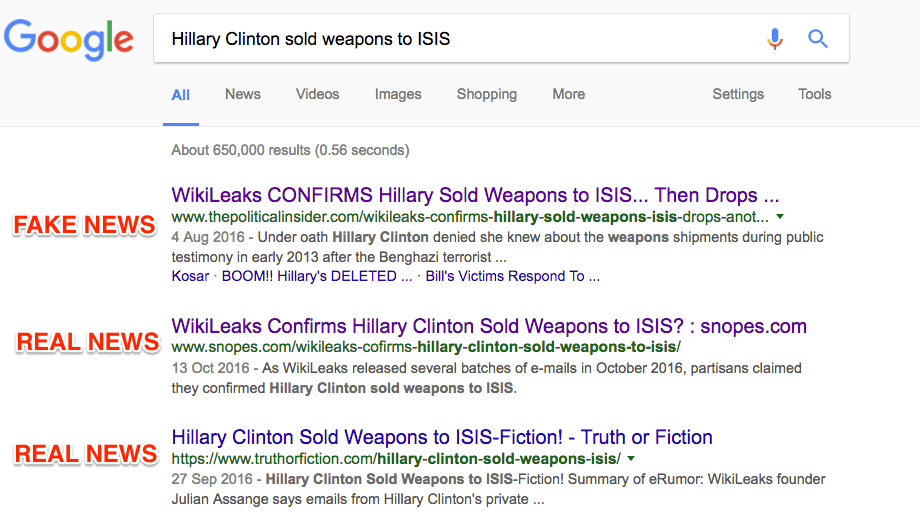 clinton fake news google