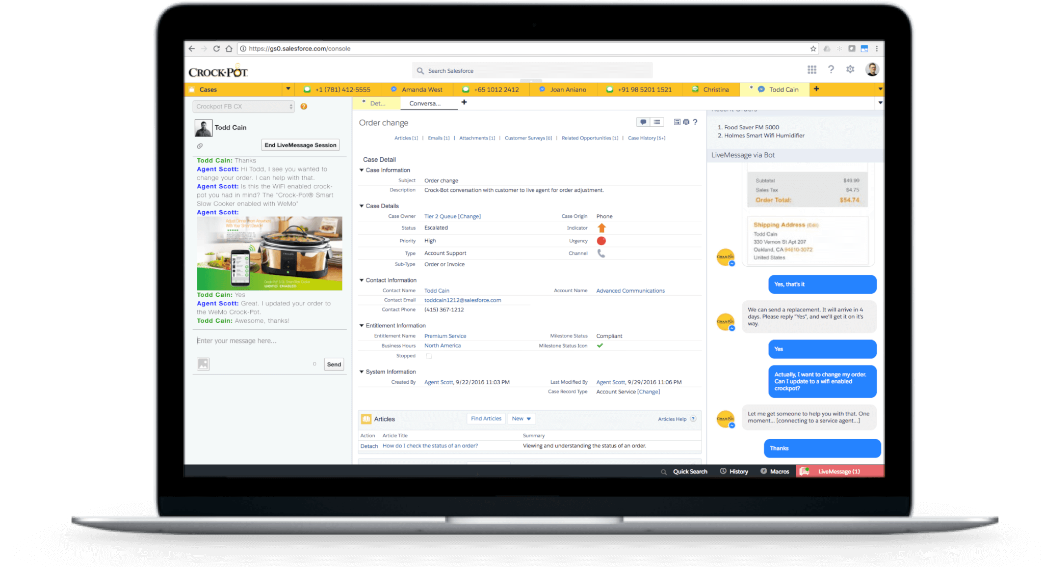 Salesforce's LiveMessage console within Service Cloud.