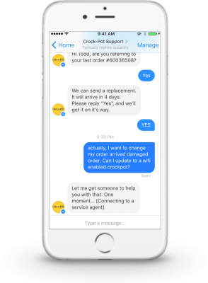 Salesforce LiveMessage-powered conversation within Facebook Messenger.