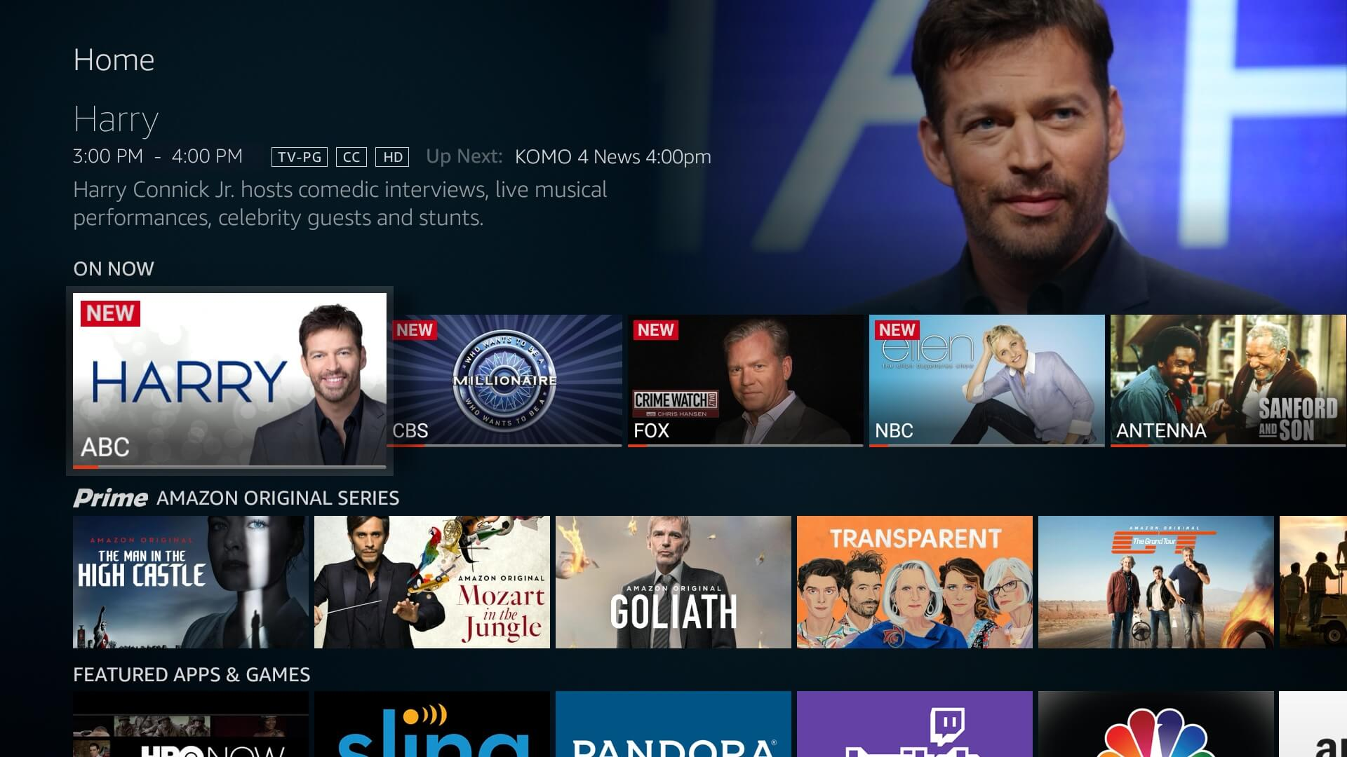 The live TV guide on the Westinghouse 4k UHD Smart TV - Amazon Fire TV edition.