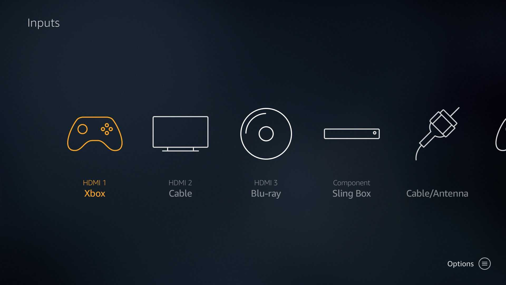 Inputs supported on the Westinghouse 4k UHD Smart TV - Amazon Fire TV edition.