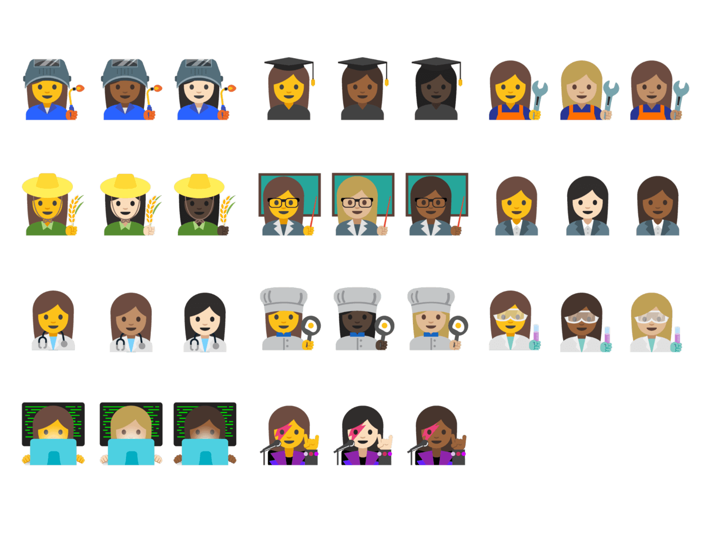 New emojis in Android 7.1.1 Nougat.