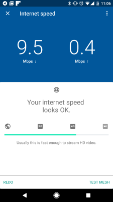 Google Wifi for Android's speed-testing tool.