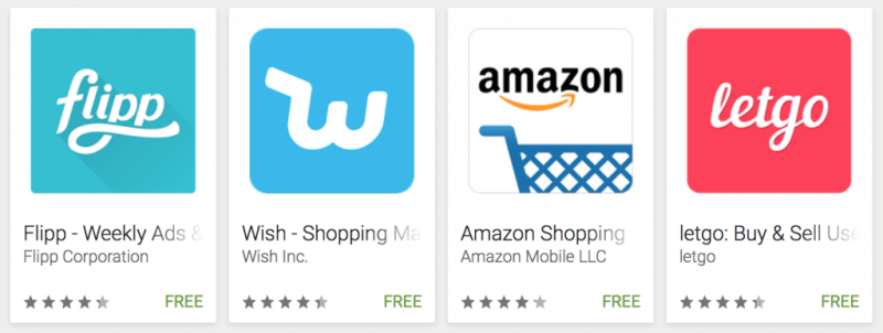 Top shopping apps on Google Play