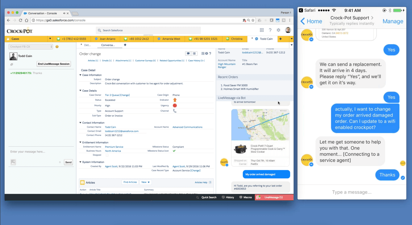 Salesforce LiveMessage in action: What the customer inputs and what a brand sees within the Service Cloud.
