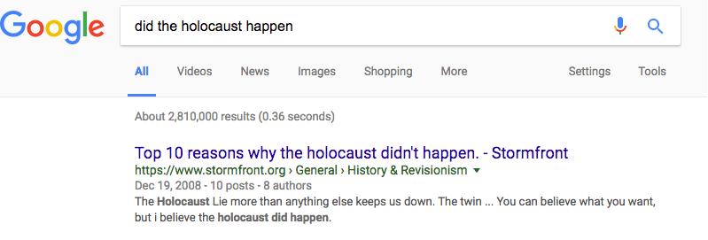 Google white supremacist holocaust
