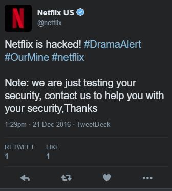 Netflix's Twitter account