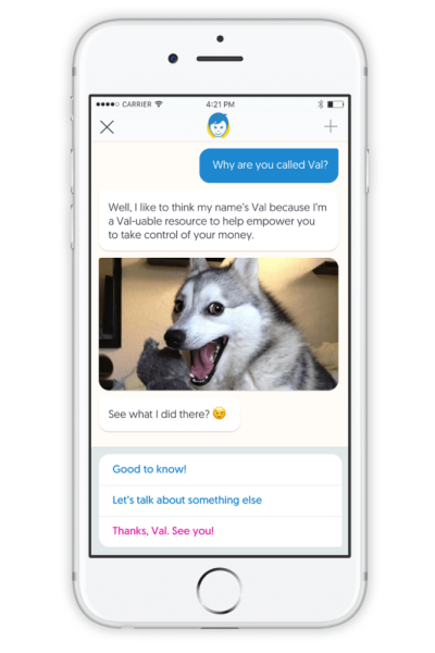 Val bot chat on Varo Money iOS app