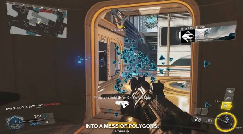 Players dissolve into polygons when you shoot them in the Neon map.