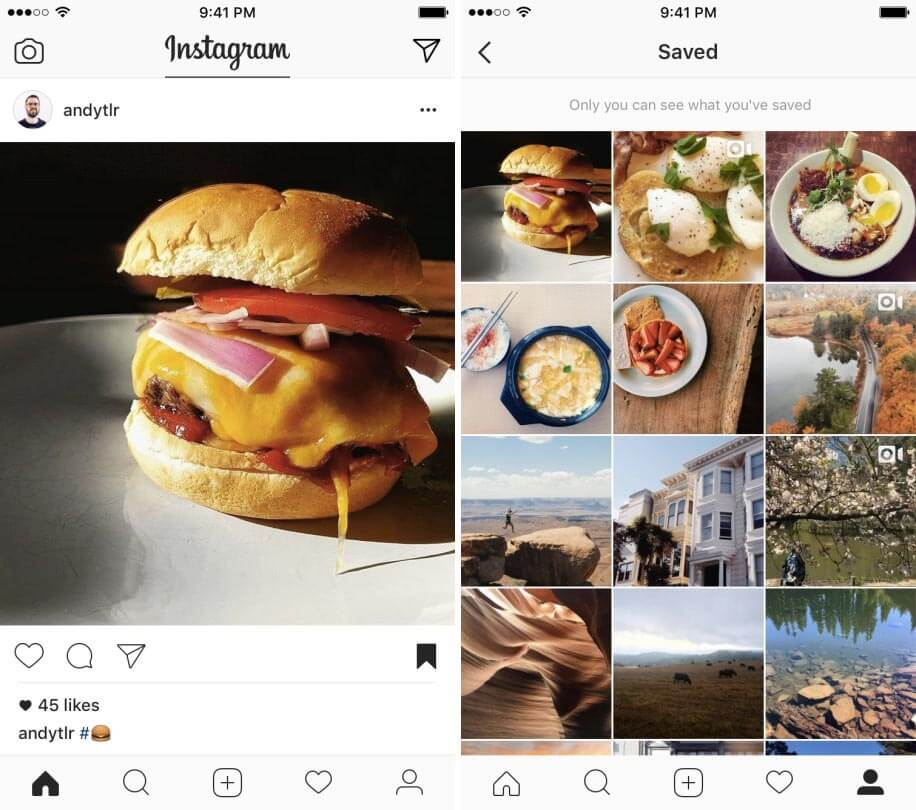 Instagram bookmarking