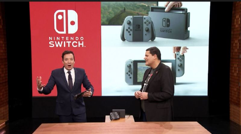 Jimmy Fallon tries out the Nintendo Switch with Nintendo's Reggie Fils-Aime.
