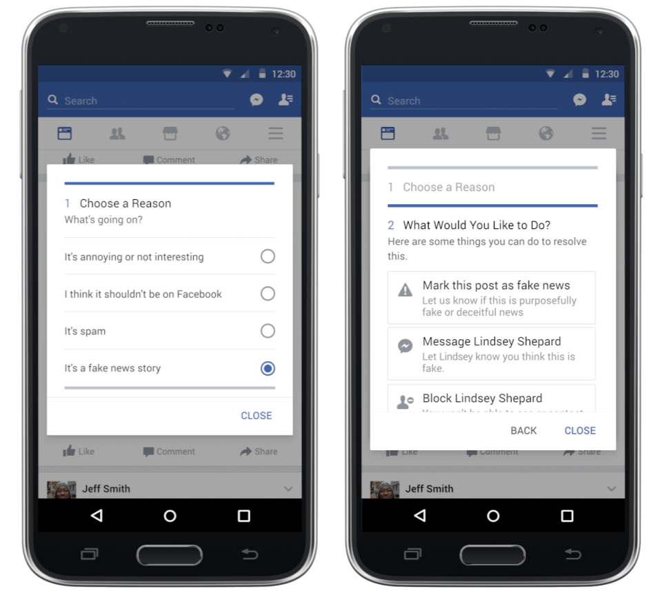 How to report a fake story to Facebook for third-party verification.