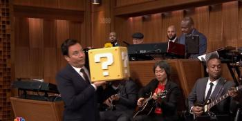 Watch Nintendo mastermind Shigeru Miyamoto play Mario's theme with The Roots