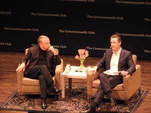 Author Thomas Friedman (left) and Lieutenant Governor Gavin Newsom at the Commonwealth Club.