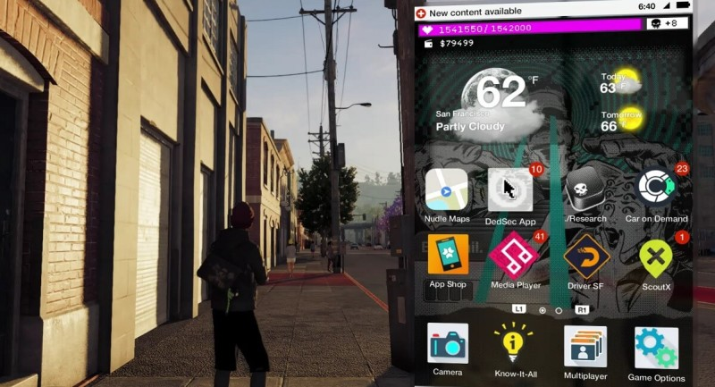 The apps on your phone in Watch Dogs 2.