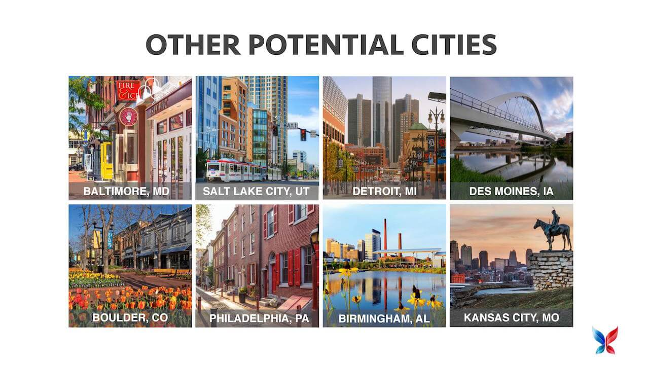 Some potential cities being considered for innovation districts by America Innovates.