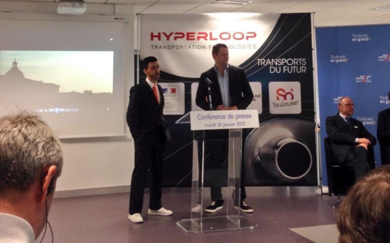 HTT chairman Bibop Gresta (left) and CEO Dirk Ahlborn at a press conference in Toulouse, France.