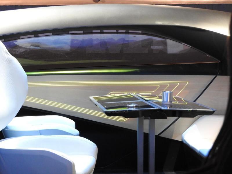 Interior of Panasonic's concept car for autonomous driving.