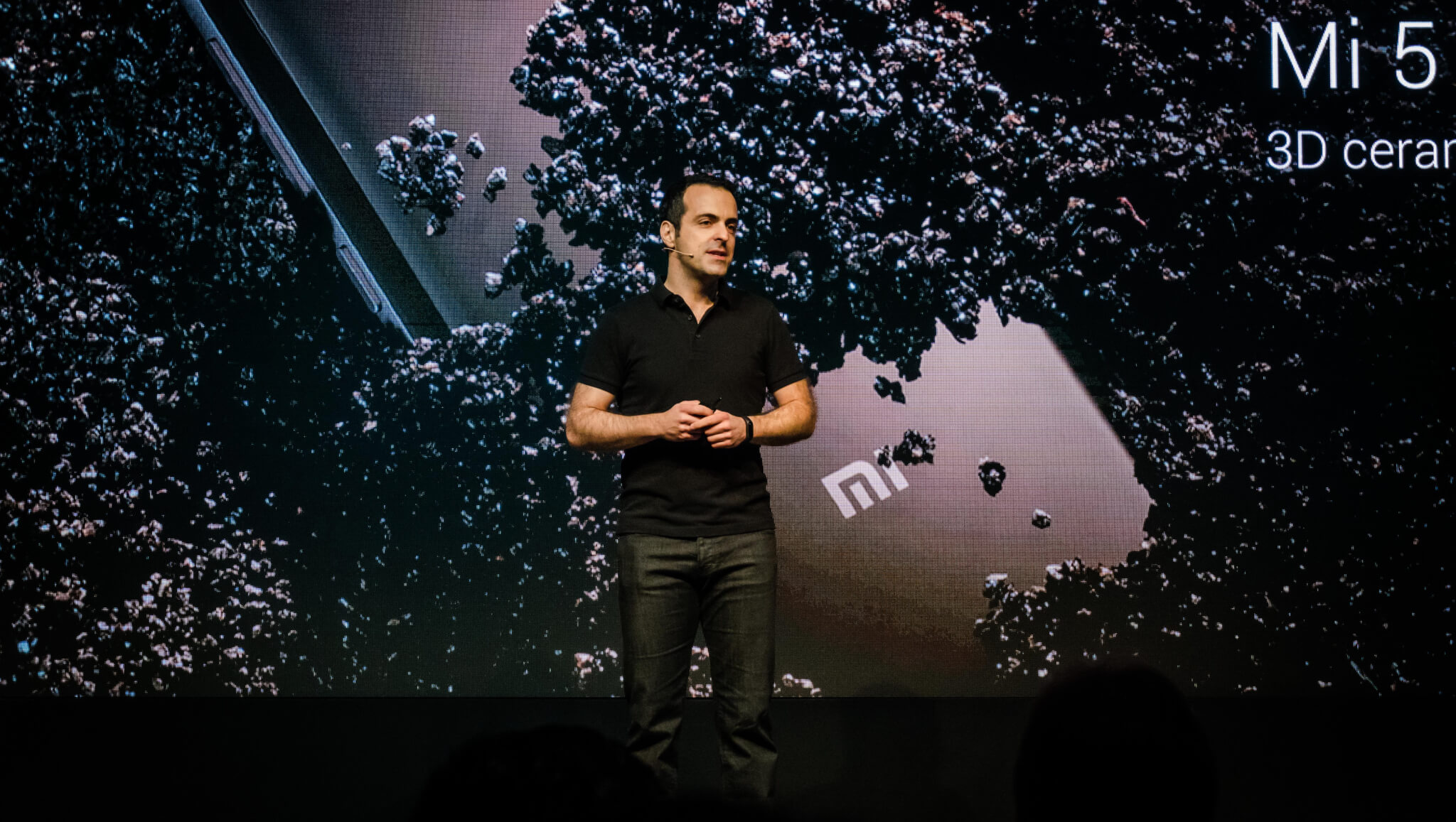Xiaomi VP Hugo Barra on stage presents at the 2017 Consumer Electronics Show.