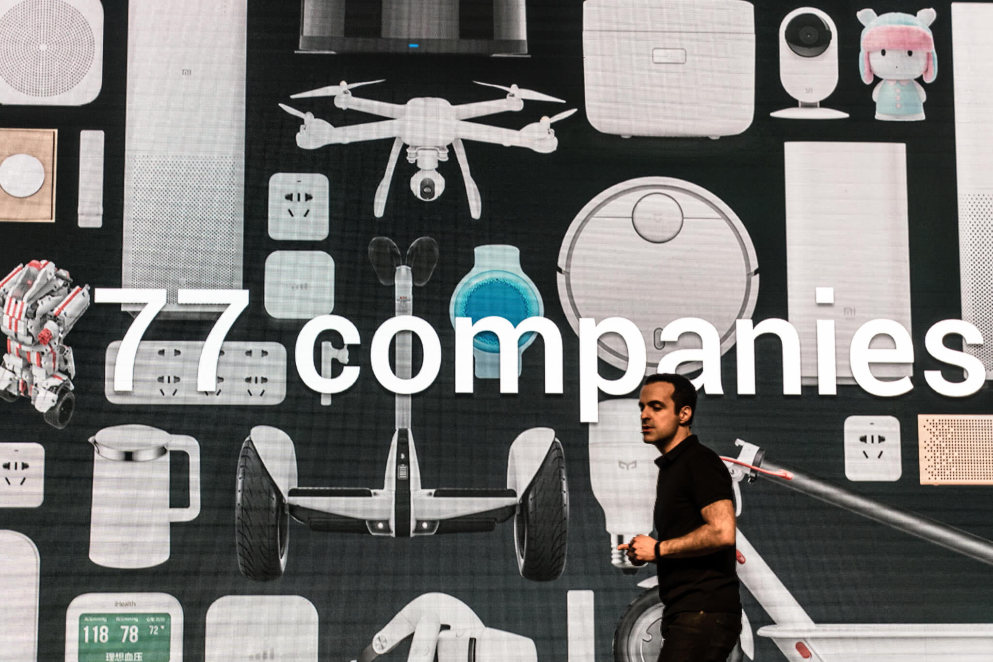 Xiaomi VP Hugo Barra at the Consumer Electronics Show in 2017 highlighting that the company now incubates 77 hardware companies in China.