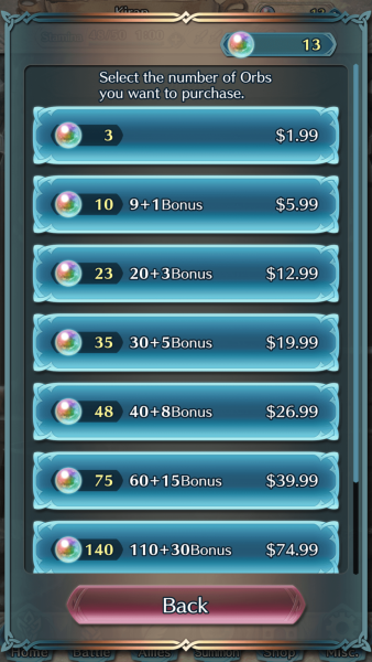 The pricing breakdown for Orbs in Fire Emblem: Heroes.