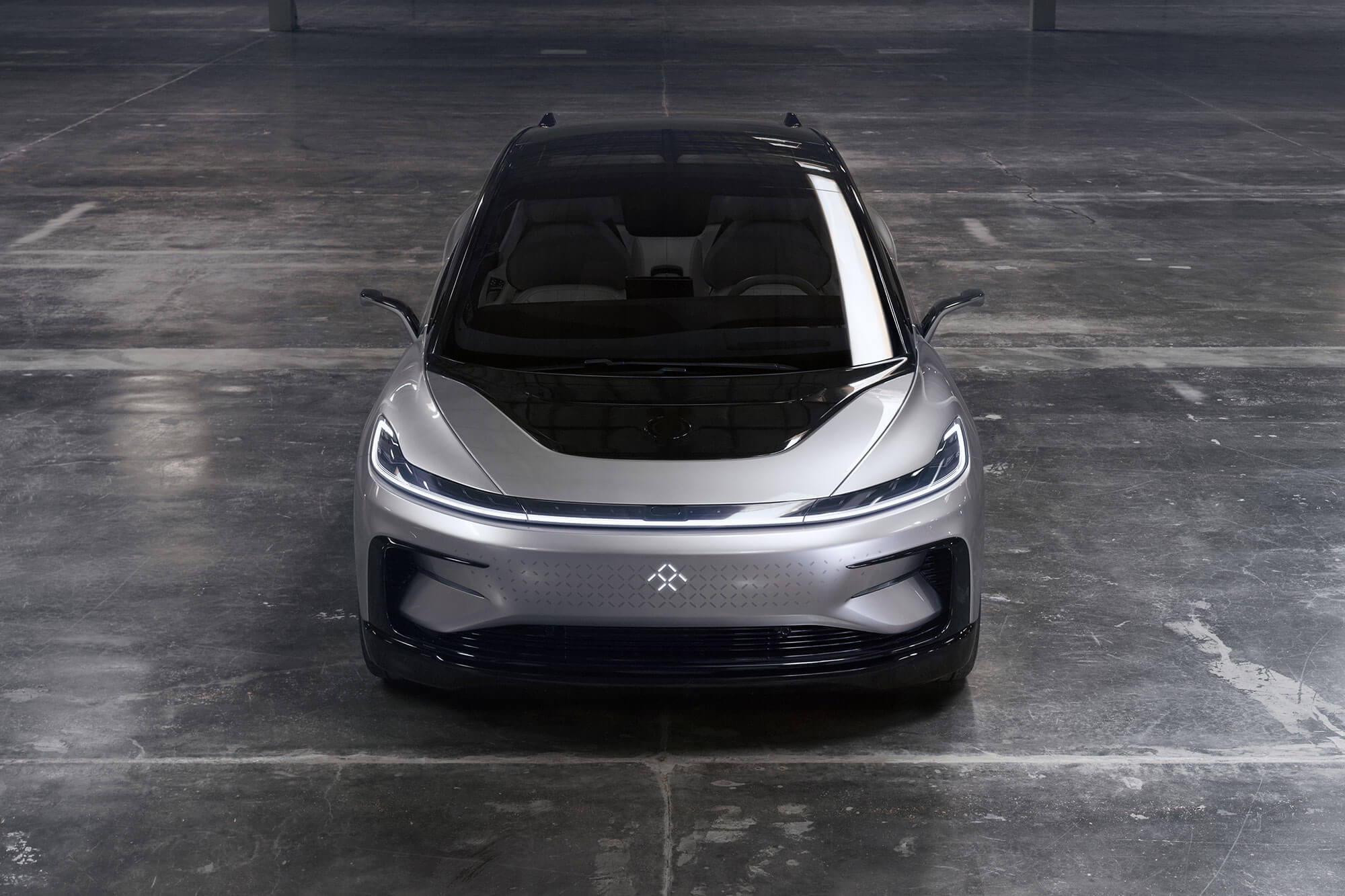 The FF 91, the first prototype car from Faraday Future. The electric car was unveiled at the 2017 Consumer Electronics Show.