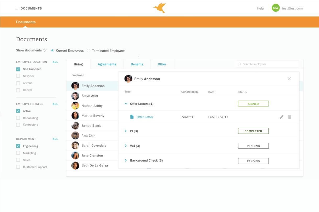 Zenefits document app