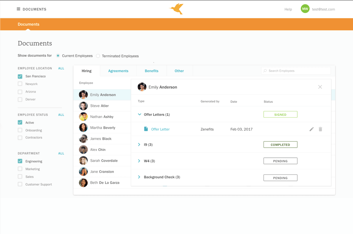 Zenefits document app