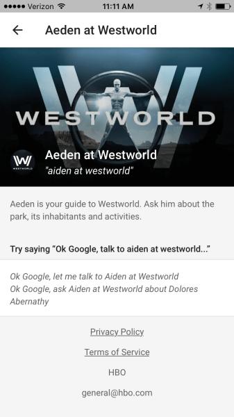 Aeden at Westworld Google Home app screenshot