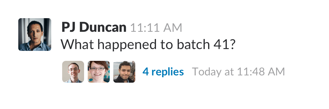Slack messages with replies