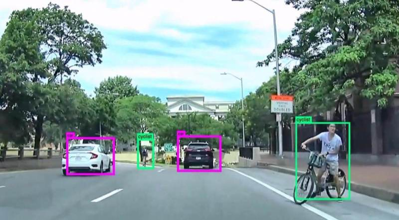 Car on Massachusetts Avenue in Cambridge, Massachusetts, automatically identifies pedestrians, cars, cyclists and trucks in the scene.
