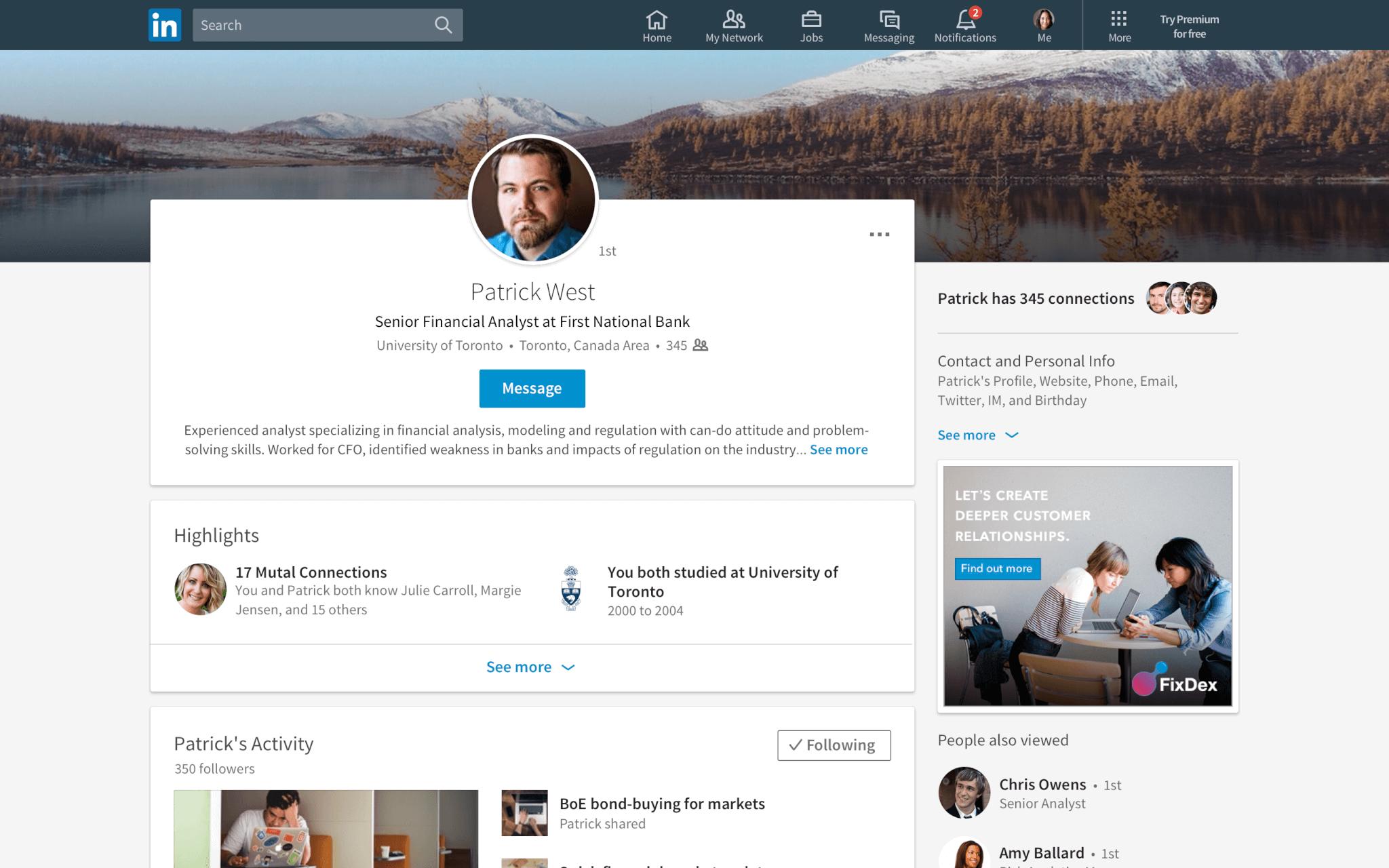 Member profiles shown in LinkedIn's desktop app redesign (2017).