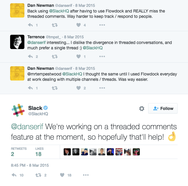 Slack has been working on a threaded comments feature since at least 2015.