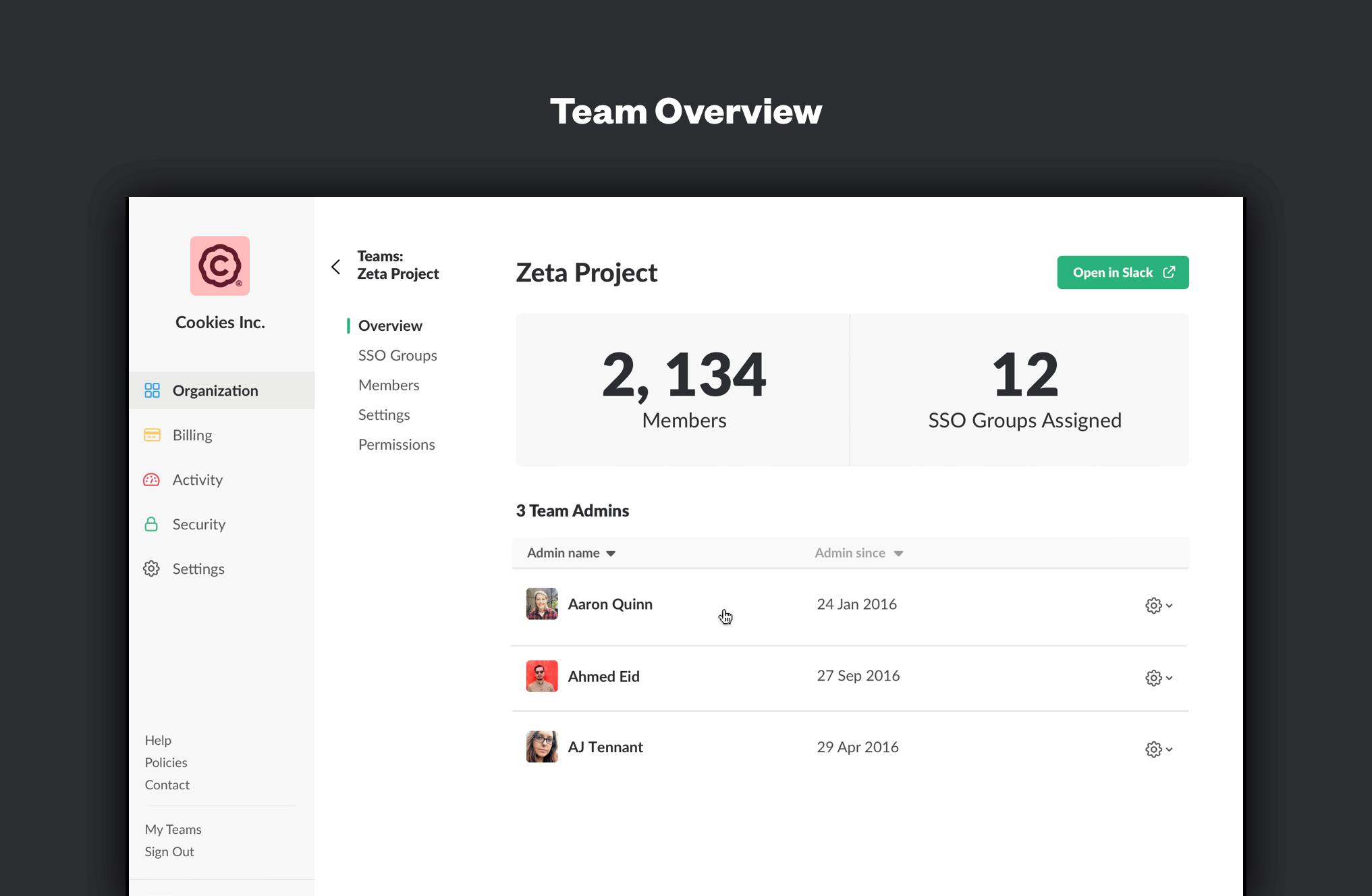 Showcasing team overviews within Slack's Enterprise Grid.