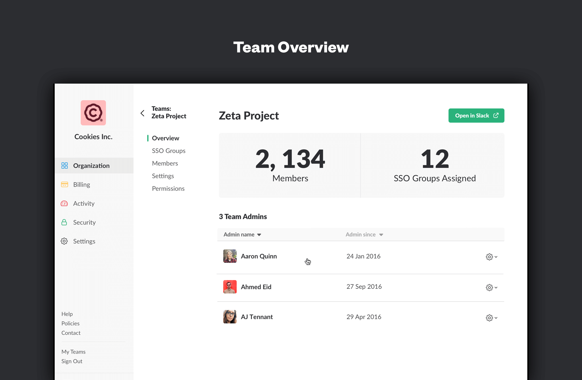 Showcasing team overviews within Slack's Enterprise Grid.
