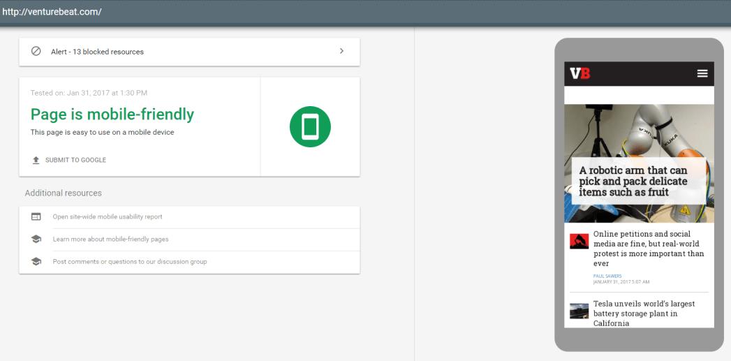 VentureBeat - Mobile Friendly