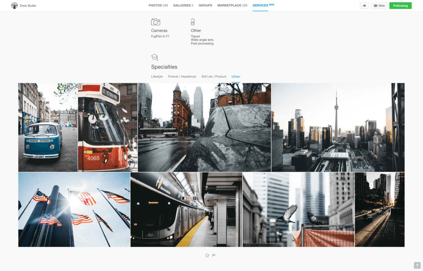 500px's photographer directory lets you search by location and specialty.